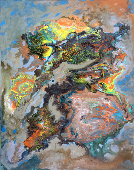 Flow series: Earth'sTattoo_22x28_acrylic on canvas_Janet Strayer Art