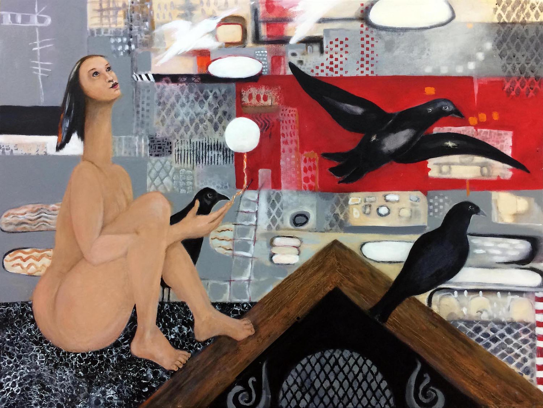 "Birdwoman:Up On the Roof, acrylic, 30""x40"""
