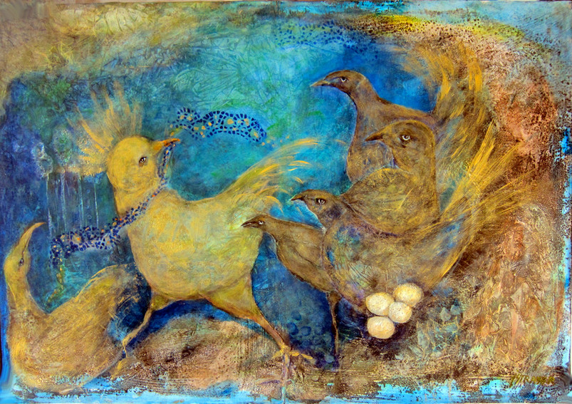 "Golden Birds, mixed media on wood, 27.5"" x 39"""