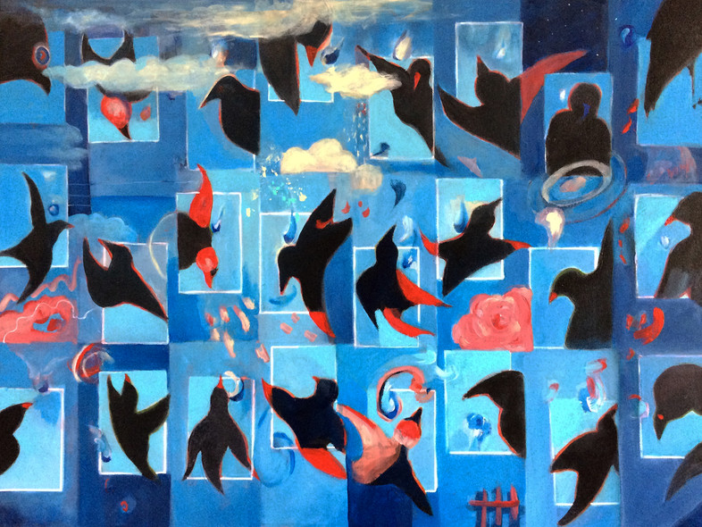 "4 and 20 Blackbirds, acrylic, 30""x40"""