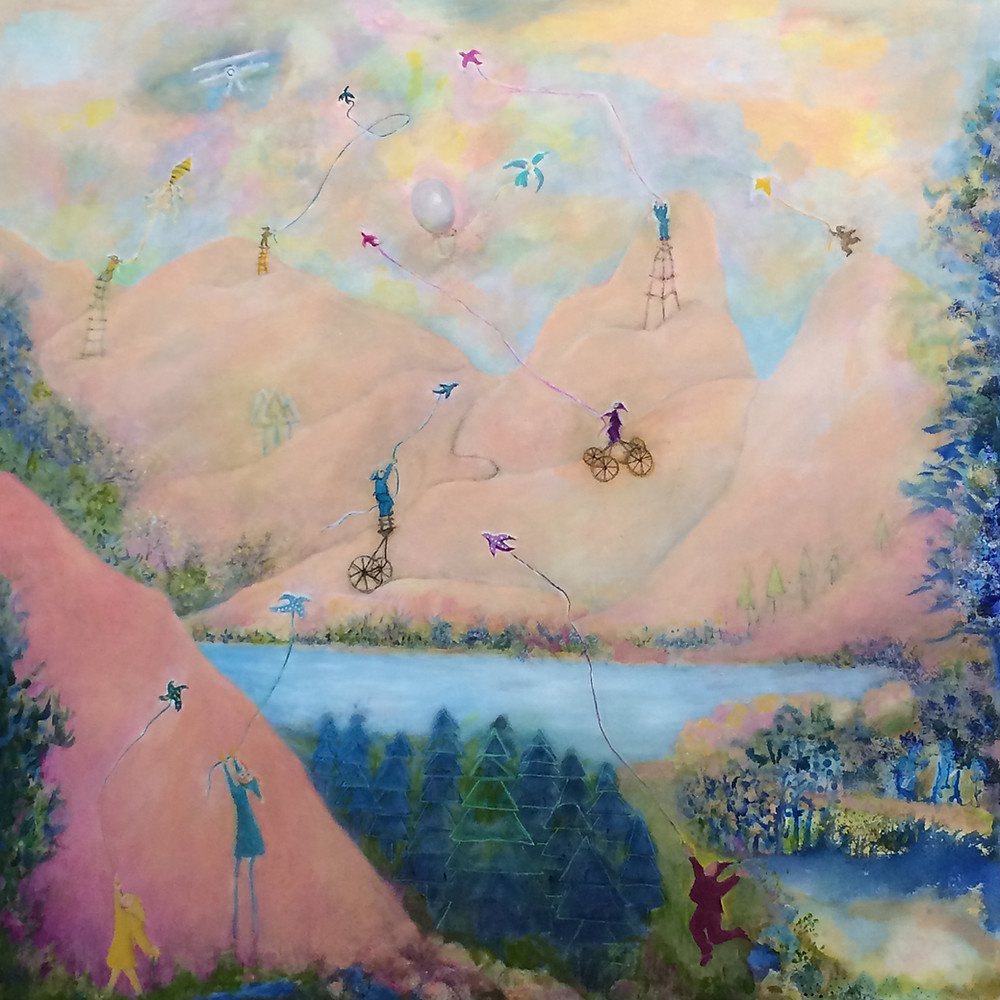 Kite Fliers painting by Janet Strayer