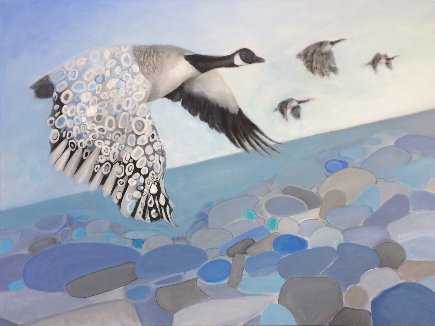 """Wings series:Canada Goose Chase, 36""""x48"""", acrylic on canvas, Janet_Strayer_Art"""