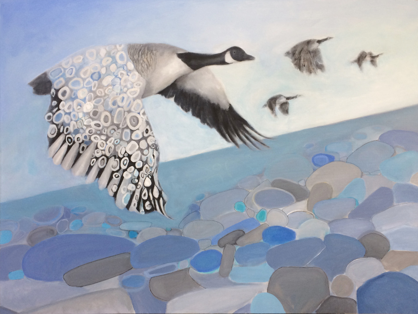 "Wings series:Canada Goose Chase, 36""x48"", acrylic on canvas, Janet_Strayer_Art"