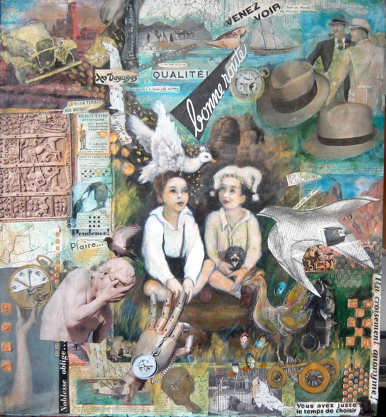 """Poet and Jester, mixed media on wood, 30""""x24"""""""