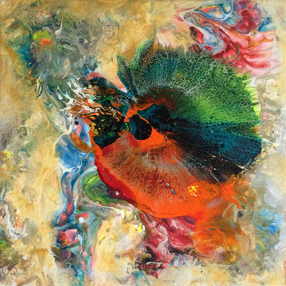 """Life Forms series by Janet Strayer: Fantasia 22, 8""""x8"""", acrylic on canvas"""