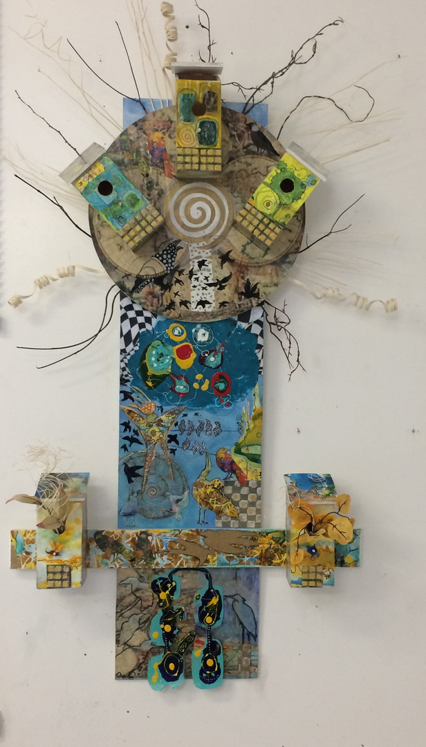 BirdCentral, mixed media on wood, ~36'x60' (with twig extensions)