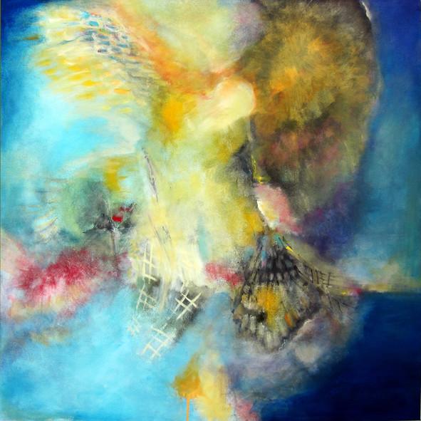 Icarus_36x36_acrylic on canvas_Janet Strayer Art