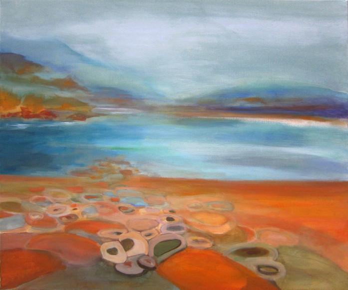 "Lac Salagou, acrylic on canvas,30""x36"" SOLD"