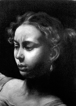 """Recalling Judith"", JS charcoal based on Caravaggio painting"