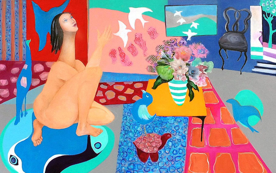 "Birdwoman at Home, acrylic, 30""x40"" janetstrayer.com"