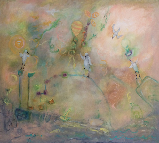 "Good Day's Travel, acrylic on canvas, 36""x36"""
