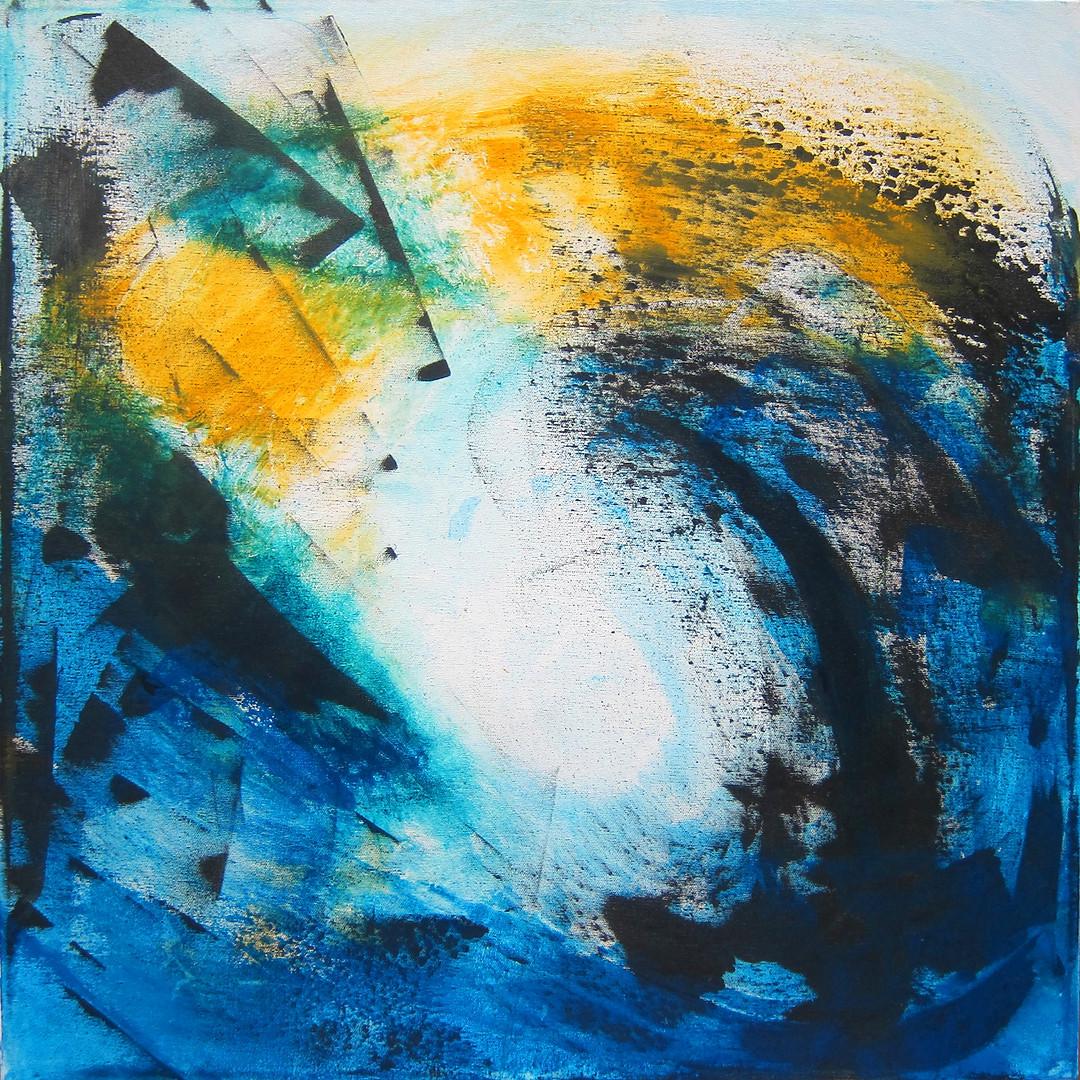 Vectors series: Centrifugal_20x20_acrylic on canvas_Janet Strayer Art
