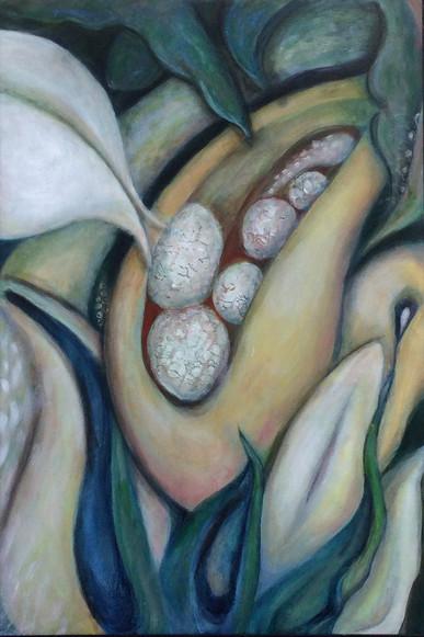 """Pods, 36""""x24"""", acrylic on canvas/ framed, NFS"""