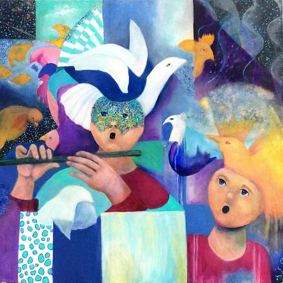 "Papageno, acrylic on canvas, 36""x36"""
