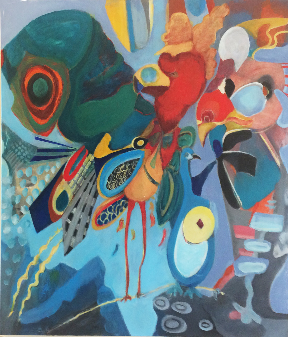 "Outrageous Tweeter Can't Fly, 36""x36"", acylic on canvas, Janet_Strayer_Art"