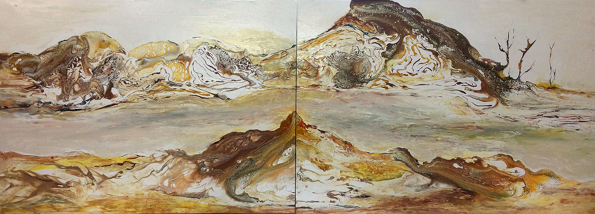 "Under the Sun, acrylic on wood diptych, 26""x72"", SOLD"