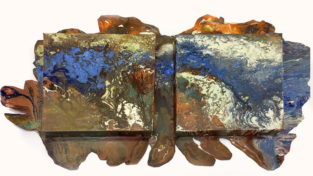 Flow series: Copper  Lapiz_22x28_acrylic on two 8x 8 canvases and duralar