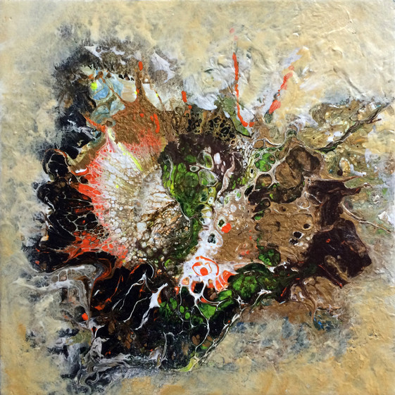 """Life Forms series by Janet Strayer: Fantasia #3, 8""""x8"""", acrylic on canvas"""