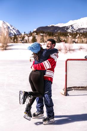 pond hockey engagement session