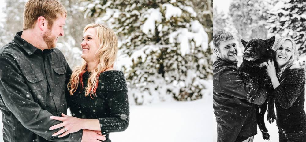 deep snow engagement photos