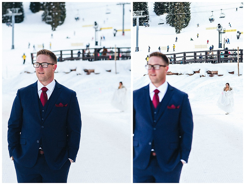 First Look Winter Ski Wedding