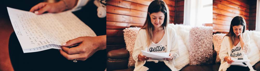 reading letters before the wedding