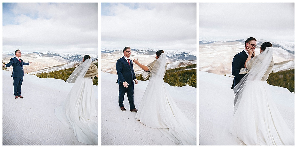 Colorado Winter Wedding First Look