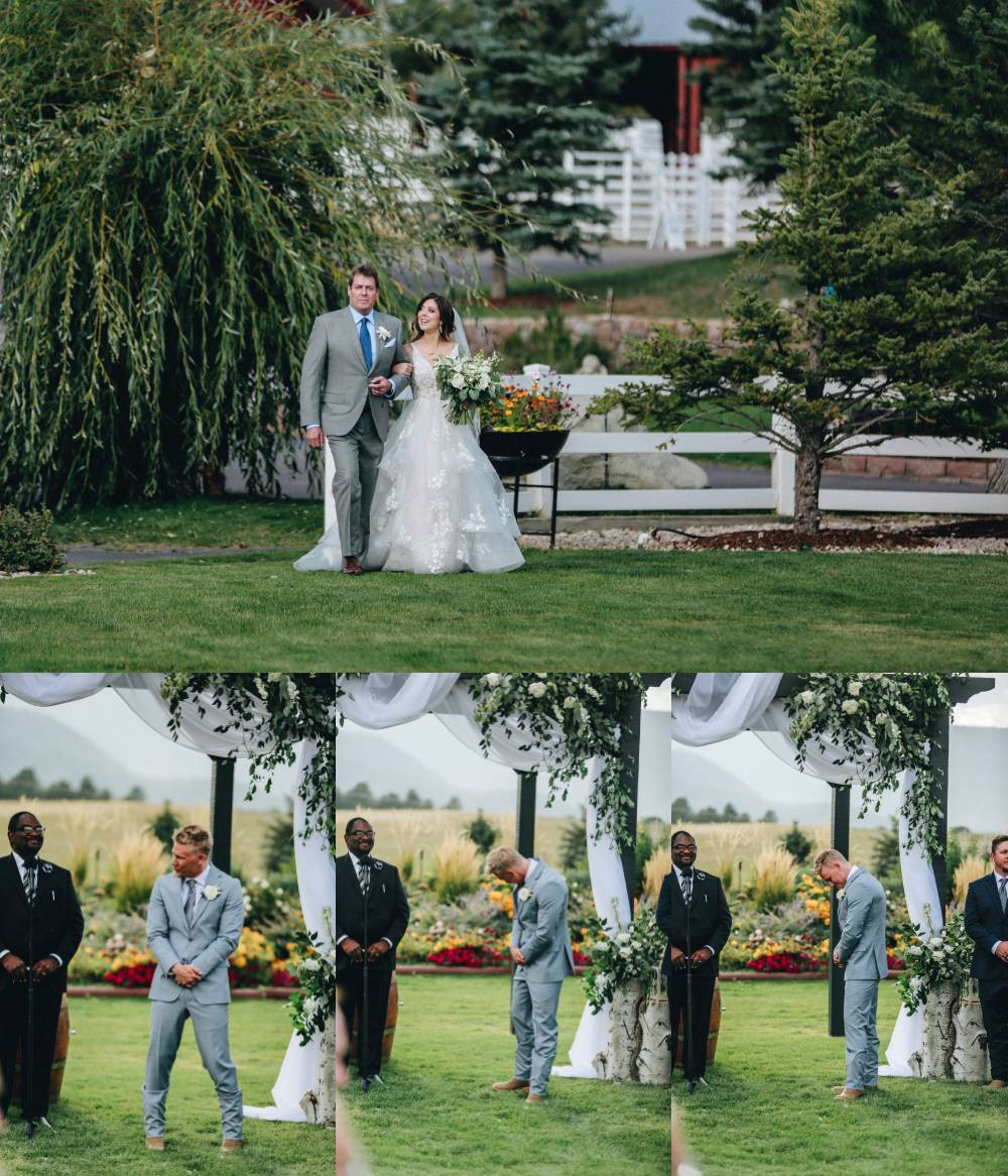 groom reaction to bride coming down the aisle