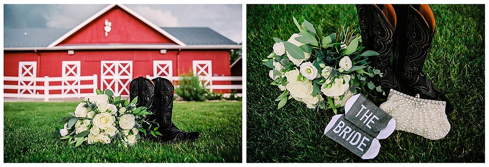 Wedding details at a barn