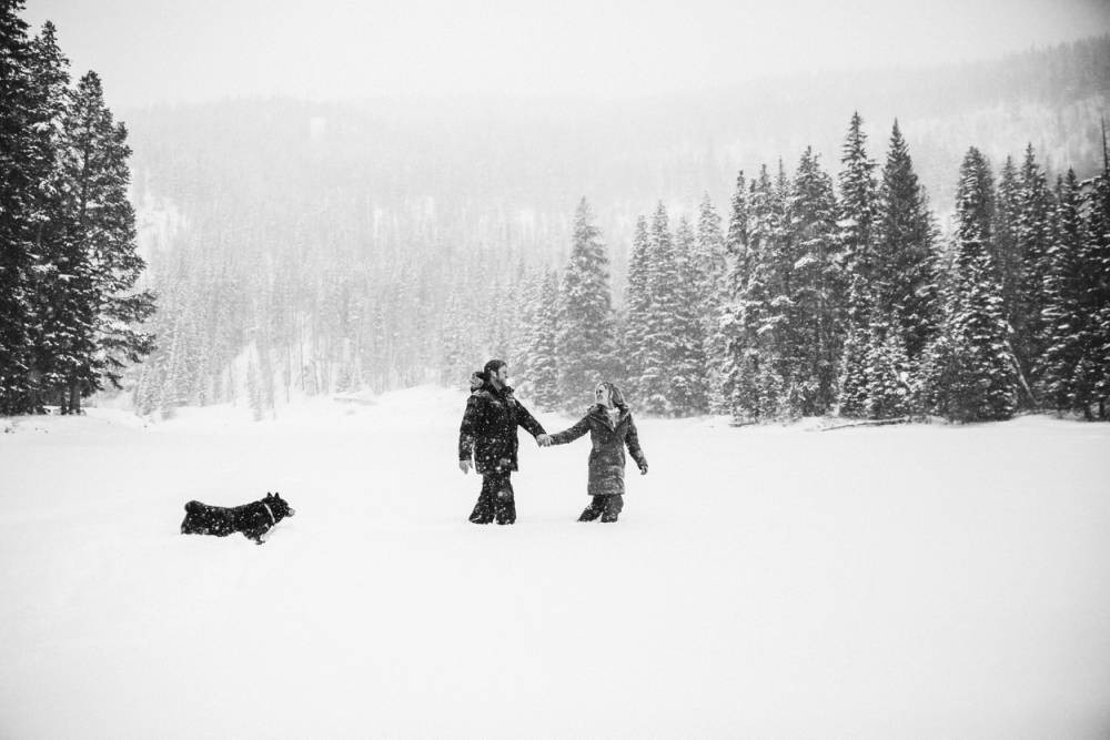 winter engagement sessions in the mountains