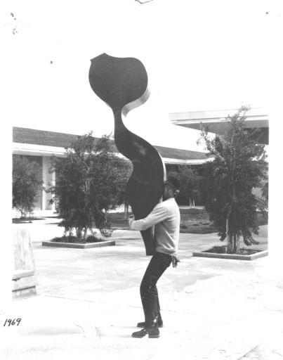 1969 Artist with Aluminium sculpture