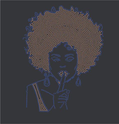 Rhinestone Afro Hush Heat Transfer