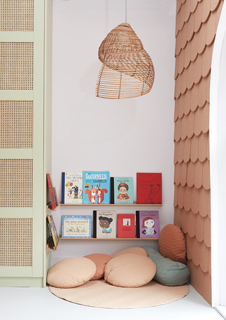 House of Kin, nursery design, book corne