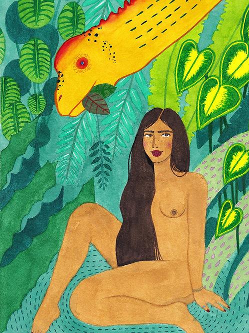 Woman with Camarasaurus Watercolour Giclée Print