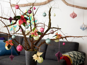 """""""Weihnachtsbaum"""" mal anders: mit Weihnachtssternen geschmückte Äste"""