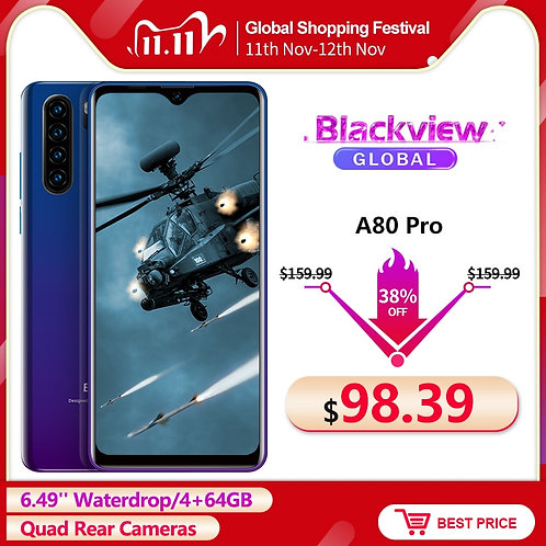 Blackview A80 Pro 6.49'' Waterdrop 4GB + 64GB Smartphone Helio P25