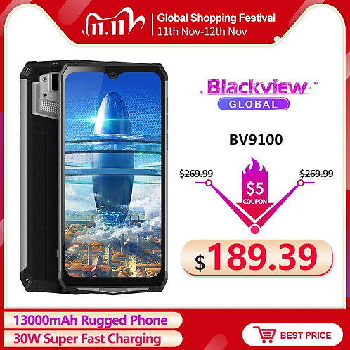 Blackview BV9100 6.3'' FHD+ 13000mAh IP68 Rugged Smartphone 4GB 64GB Helio P35