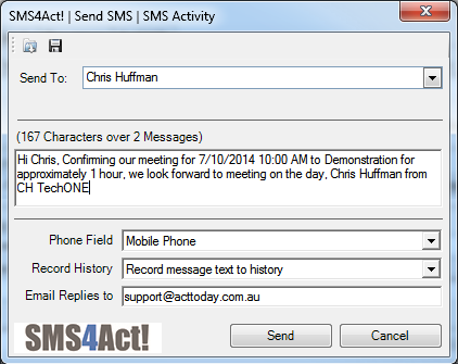 Send text message with SMS4Act!