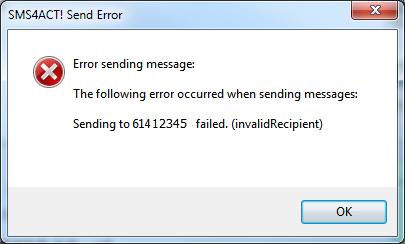 Erroor sending SMS