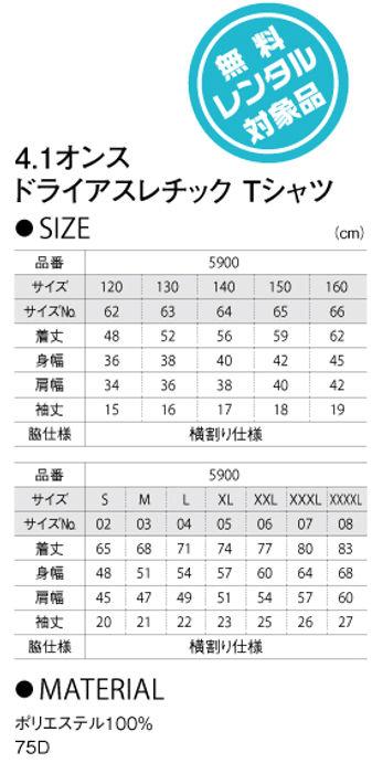 ドライアスレチックTシャツ UnitedAthle5900サイズ表