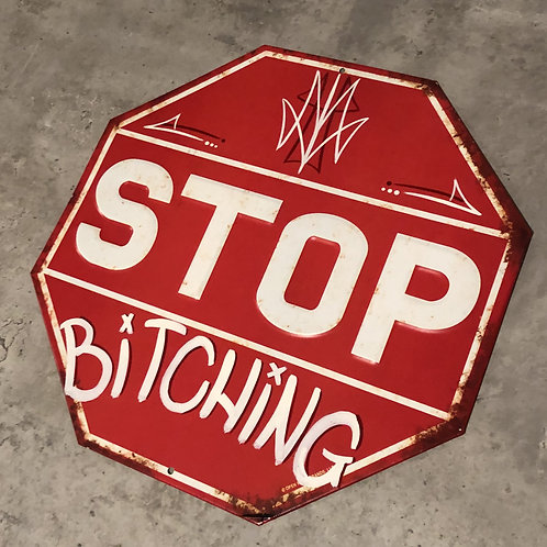 Hand painted stop sign