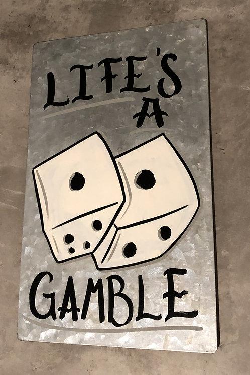 'Gamble' - Hand painted on metal sheet