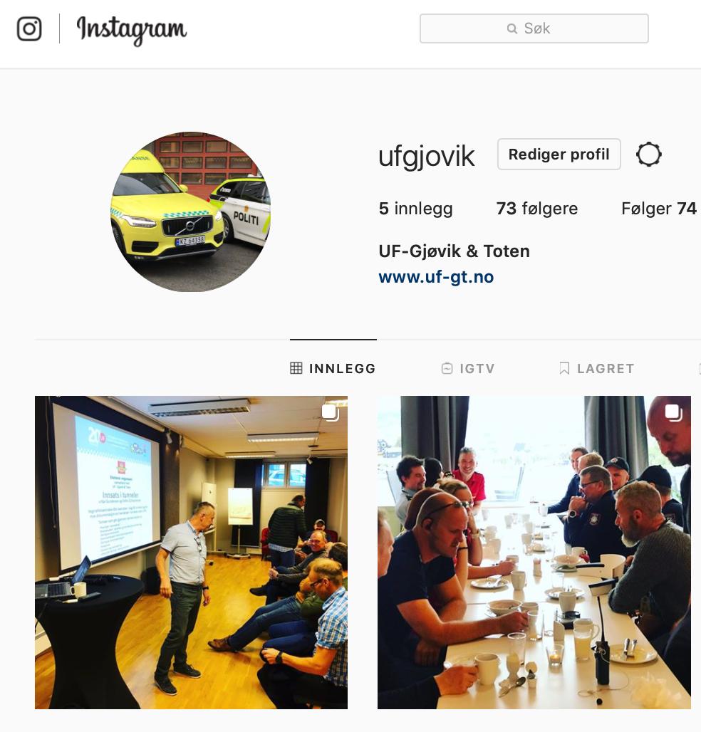 Vi er på Instagram med brukernavnet 'ufgjovik'. Følg oss gjerne!