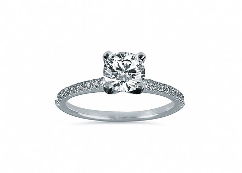 Micro Pave Round Diamond Engagement Ring