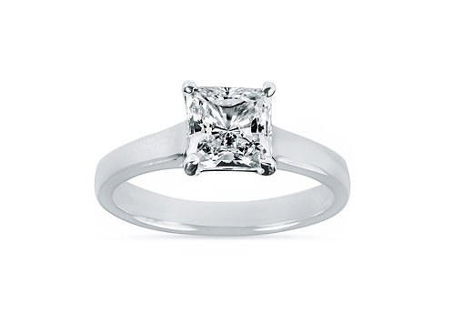 Platinum - Princess Cut Solitaire Cathedral Setting Diamond Engagement Ring