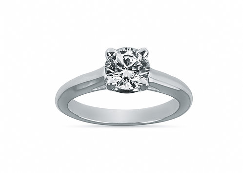 Platinum - Princess Cut Solitaire Setting Diamond Engagement Ring