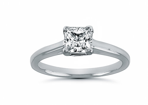 Princess Cut Solitaire Cathedral Setting Diamond Engagement Ring