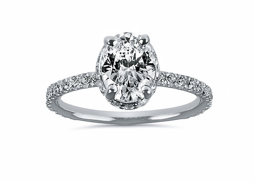 Platinum - Underneath Halo Micro Pave Oval Diamond Engagement Ring