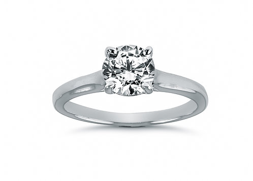 Round Diamond Cathedral Setting Diamond Engagement Ring