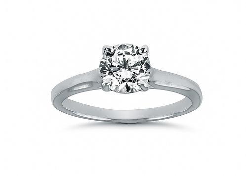 Platinum - Round Diamond Cathedral Setting Diamond Engagement Ring